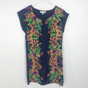 Olive + Oak navy tropical print shift dress